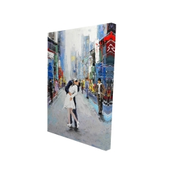 Canvas 24 x 36 - 3D - Kiss of times square