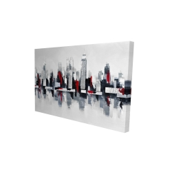 Canvas 24 x 36 - 3D - Gray and red cityscape