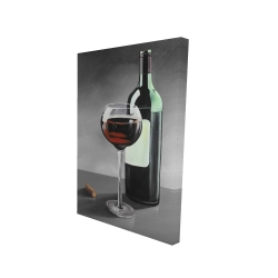 Canvas 24 x 36 - 3D - Bottle of burgundy