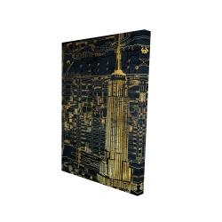 Canvas 24 x 36 - 3D - Gold city blue print