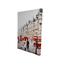Canvas 24 x 36 - 3D - European street by a rainy day