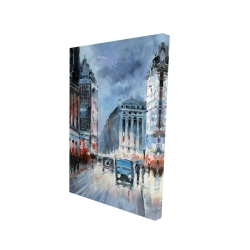 Canvas 24 x 36 - 3D - Abstract red and blue city