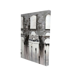 Canvas 24 x 36 - 3D - Gray building with passersby