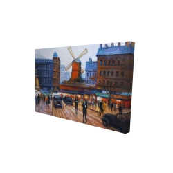 Canvas 24 x 36 - 3D - Street scene to moulin rouge