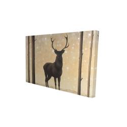 Canvas 24 x 36 - 3D - Roe deer in winter
