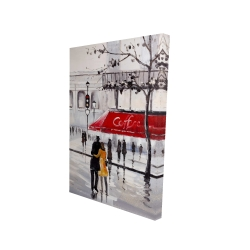Canvas 24 x 36 - 3D - Couple walking near a coffee shop