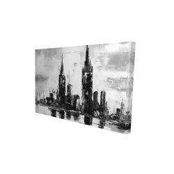 Canvas 24 x 36 - 3D - Mono urban cityscape