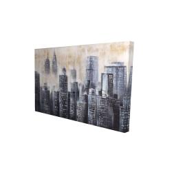 Canvas 24 x 36 - 3D - Buildings through the clouds