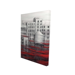 Canvas 24 x 36 - 3D - Gray city with red clouds