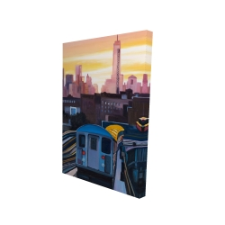 Canvas 24 x 36 - 3D - Sunset over the subway in new-york