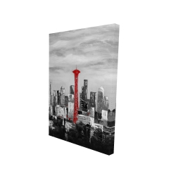 Canvas 24 x 36 - 3D - Space needle in red