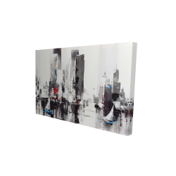 Canvas 24 x 36 - 3D - Abstract boats with cityscape