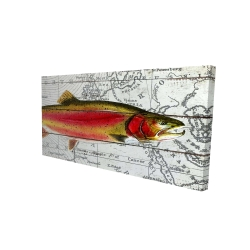 Canvas 24 x 48 - 3D - Pink trout on a map