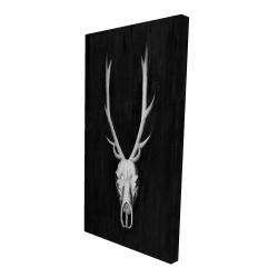 Canvas 24 x 48 - 3D - Deer skull on black background