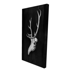 Canvas 24 x 48 - 3D - Deer skull in the dark