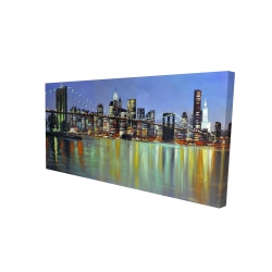 Canvas 24 x 48 - 3D - Colorful city with a bridge by night