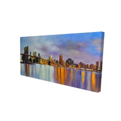 Canvas 24 x 48 - 3D - Colorful city with a bridge by day