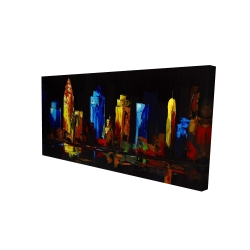 Canvas 24 x 48 - 3D - Colorful buildings on a dark background