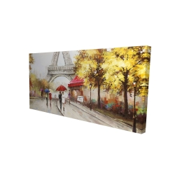 Canvas 24 x 48 - 3D - Passersby near the eiffel tower