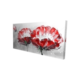 Canvas 24 x 48 - 3D - Two wild flowers on gray background