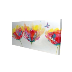 Canvas 24 x 48 - 3D - Colorful flowers with a butterfly