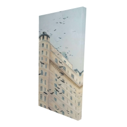 Canvas 24 x 48 - 3D - Birds flying in front of a building