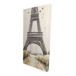 Canvas 24 x 48 - 3D - Eiffel tower with flying birds