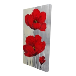 Canvas 24 x 48 - 3D - Red flowers on a gray background