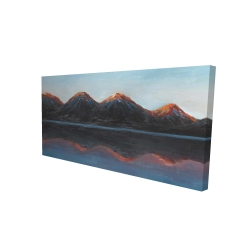Canvas 24 x 48 - 3D - Mountains and calm lake