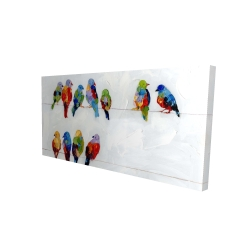 Canvas 24 x 48 - 3D - Colorful birds on a wire