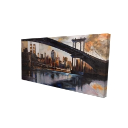 Canvas 24 x 48 - 3D - Bridge in the city at sunset