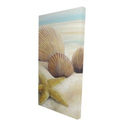 Canvas 24 x 48 - 3D - Starfish and seashells view on the beach