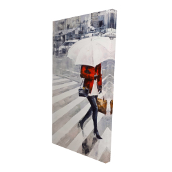 Canvas 24 x 48 - 3D - Woman walking with her umbrella