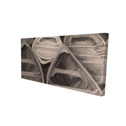 Canvas 24 x 48 - 3D - Sepia canoes
