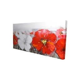 Canvas 24 x 48 - 3D - Gray field with red flowers