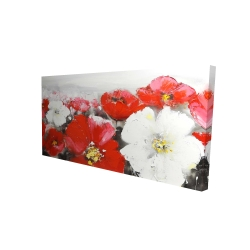 Canvas 24 x 48 - 3D - Red and white flowers field