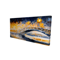 Canvas 24 x 48 - 3D - Bridge in the moonlight
