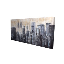 Canvas 24 x 48 - 3D - Buildings through the clouds