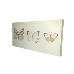 Canvas 24 x 48 - 3D - Sepia butterflies
