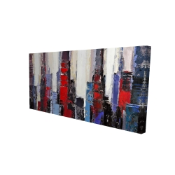 Canvas 24 x 48 - 3D - Abstract red and blue buildings