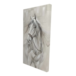 Canvas 24 x 48 - 3D - Worthy white horse