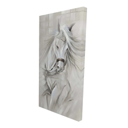Canvas 24 x 48 - 3D - White horse with his mane in the wind