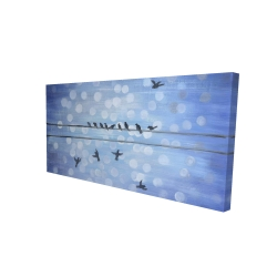 Canvas 24 x 48 - 3D - Birds on a wire with a clear blue sky
