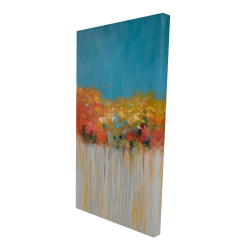 Canvas 24 x 48 - 3D - Colorful abstract flowers on blue background