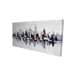 Canvas 24 x 48 - 3D - Gray and red floating cityscape