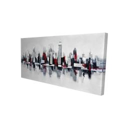 Toile 24 x 48 - 3D - Paysage urbain gris et rouge flottant
