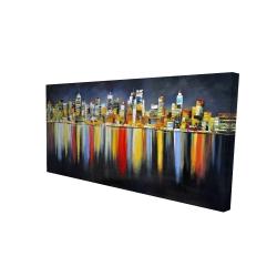 Toile 24 x 48 - 3D - Réflexion colorée d'un paysage urbain de nuit