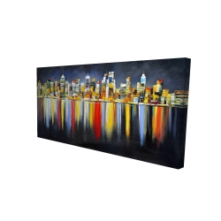 Canvas 24 x 48 - 3D - Colorful reflection of a cityscape by night