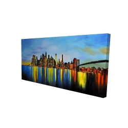 Canvas 24 x 48 - 3D - City by night with a bridge