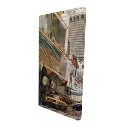 Canvas 24 x 48 - 3D - Street view with yellow taxi
